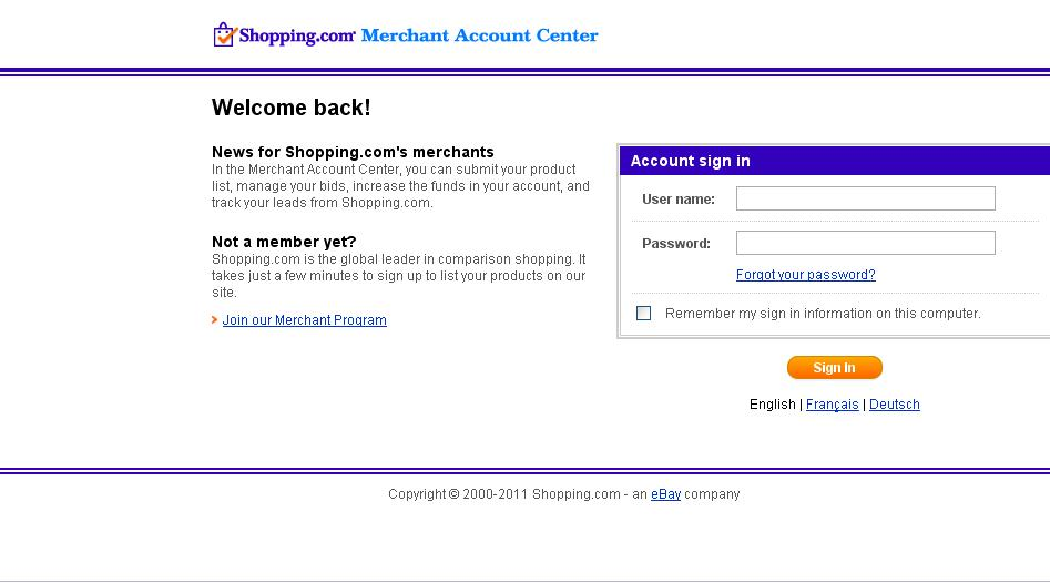 Merchants Information on Shopping com Shopping Feed Services