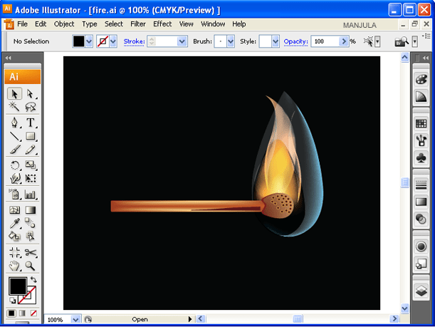 Match-stick-flaming-using-illustrator-20